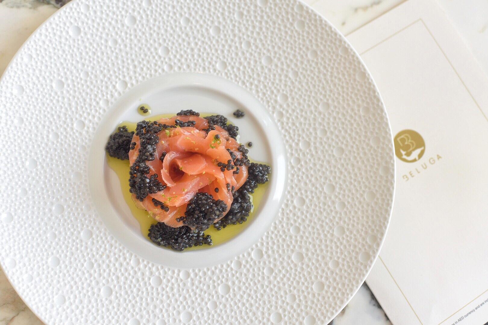 """""""Tsar Alexei"""" salmon flower with White Sturgeon vinaigrette"""